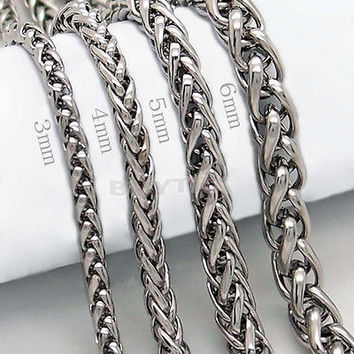 """Stylish 3/4/5/6MM 20"""" Men Silver Stainless Steel Wheat Braided Chain Necklace"""