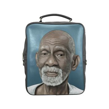 Dr Sebi Vegan Leather Black Square Backpack (Model 1618)