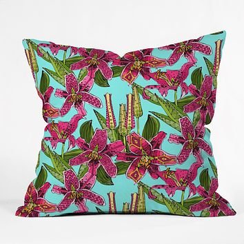 Sharon Turner Stargazer Lilies Throw Pillow