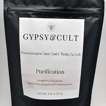 Gypsy & Cult Himalayan Sea Salt Body Scrub & Purification 8 Oz. Grapefruit Lemongrass Eucalyptus Frankincense
