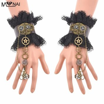 Women Steampunk Gear Black Lace Belt Wrist Cuffs Vintage Wristbands Gears Punk Fake Cuffs Cosplay Accessories