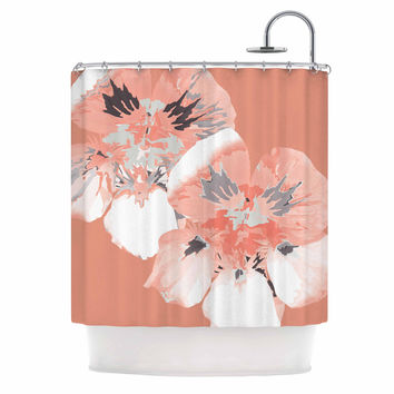 "Love Midge ""Graphic Flower Nasturtium Coral"" Pink Floral Shower Curtain"