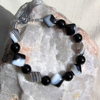 "Black Onyx & Sardonyx Gemstone Crystal Bracelet - ""Jack of Diamonds"""
