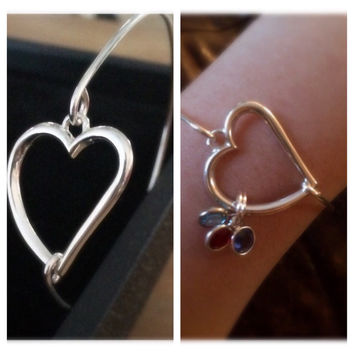 Silver-Filled Wire Bangle Heart Bracelet with optional Swarovski Birthstone Charms by Tickle Bug Jewelry