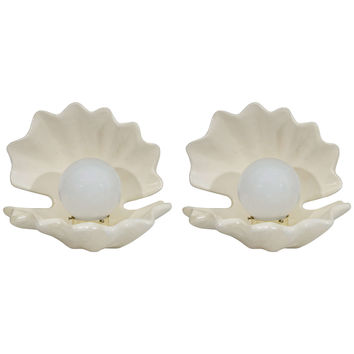 Hollywood Regency Style Pair of Pearl in Oyster Shell Table Lamps