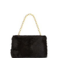 Judith Leiber Couture Small Framed Mink Fur Clutch Bag, Black