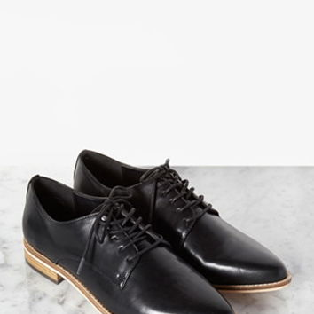 Faux Leather Pointed-Toe Oxfords