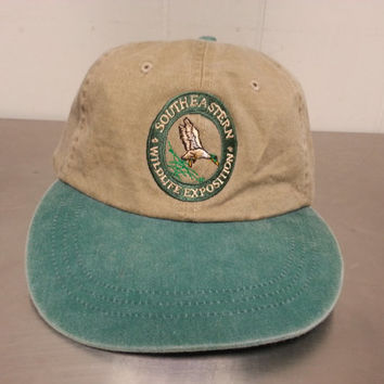 Vintage 90's South Eastern Wildlife Exposition Leather Strapback Science Tourist Hat Made by Adams