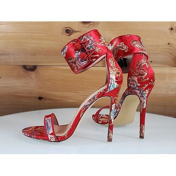 "Liliana Red Satin Embroidered Floral Ankle Strap 4.5"" High Heel Shoe"