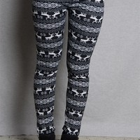 Icon Apparel Nordic Reindeer & Snowflake Knit Leggings - Black
