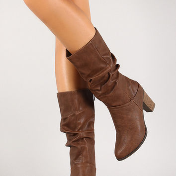 Breckelle Slouchy Almond Toe Heeled Mid Calf Boot