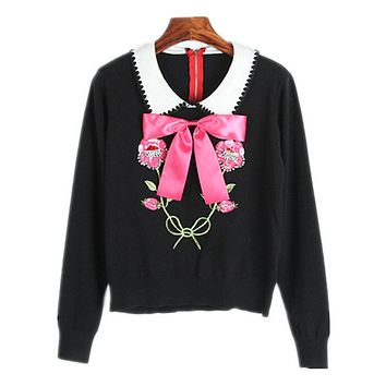 High Quality Runway Sweater Women Luxury Rhinestones Sequins Flower Bow Knit Pullovers 2017 Winter Jumper Women Winter Sweaters