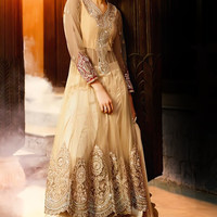 Beige and Red Layered Anarkali Suit with Embroidery