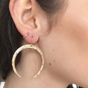 Crescent Evening Gold Earrings