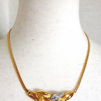 MINT. Vintage LANVIN golden chain necklace with golden leaf motif pendant top with clear and navy crystal stones. Perfect jewelry gift.