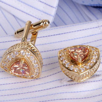 Vintage Gold Cufflinks with Crystals & Amber Rhinestone