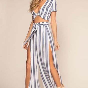 Landings Stripe High Waisted Culotte Pants