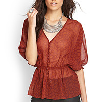 FOREVER 21 Spotted Drop Waist Blouse