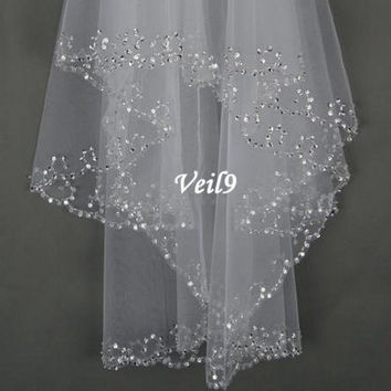 Fashion 2-Layer Handmade Beaded Crescent edge Bridal Accessories Veil with Comb Hand Sequins Wedding headdress Ivory/White Wrist Veil = 1933140292