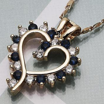 Gold Layered Women Heart Fancy Necklace, with Sapphire Blue Cubic Zirconia, by Folks Jewelry