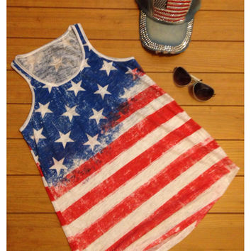 """""""Patriotic Me"""" Red, White and Blue, Stars and Stripes American Flag Tank Top"""