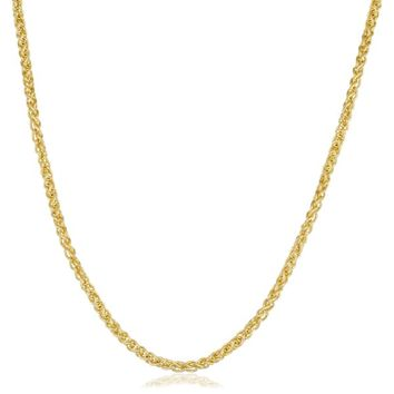 Fremada Yellow Gold Filled 2.5mm Round Wheat Chain Necklace | Overstock.com Shopping - The Best Deals on Gold Overlay Necklaces