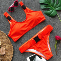 Summer fashion new solid color buckle vest sexy two piece bikini swimsuit Orange