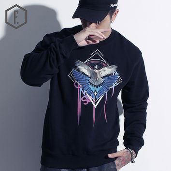 Print Long Sleeve Men's Fashion Winter Geometric Pattern Hoodies [8822200707]