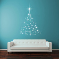 Wall Decal Vinyl Sticker Decals Art Decor Design Stars New Year Merry Christmas Tree Snow Family Holl Office Bedroom Dorm Door Window(r1359)