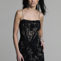 Dave & Johnny 334 Black Fitted Short Lace Prom Dresses Online