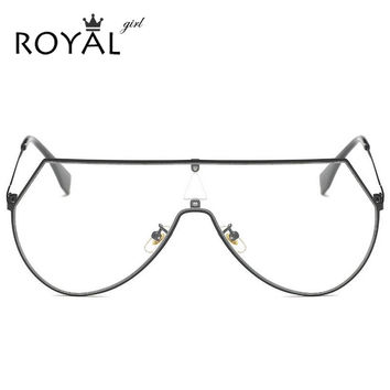 ROYAL GIRL Unique Shield Sunglasses Women Rimless Over Size Sun Glasses Vintage Clear Lens SS923-1
