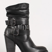 Leatherette Slanted Collar Double Buckle Chunky Heel Bootie