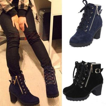 LMFON Black Blue Lace Up Zipper Lady Motorcycle High Heel Shoes Ankle Martin Boots [9432932874]