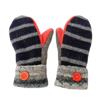 Navy and Gray Wool Mittens, Recycled Sweater Mittens Women Made in Wisconsin Salmon Coral Lambswool Sweaty Mitts Handmade Gift Fleece Lined