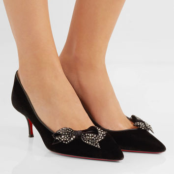 Christian Louboutin - Mlle Menule 55 bow and crystal-embellished velvet pumps
