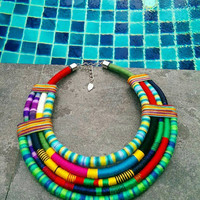 African necklace, african jewelry, bib necklace, statement necklace, ethnic necklace, tribal necklace, bib, rope necklace, slow fashion