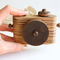 Wooden Toy Camera - Twig Exotics - African Zebrawood