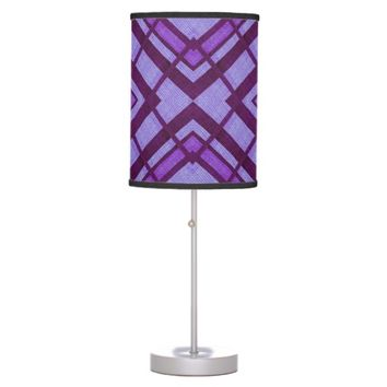 Retro Purple Abstract Triangles Desk Lamp