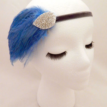 The Elsie - light blue Great Gatsby feather headband, blue feather headpiece, Gatsby hairband, headband for flapper dress, blue silver 1920s