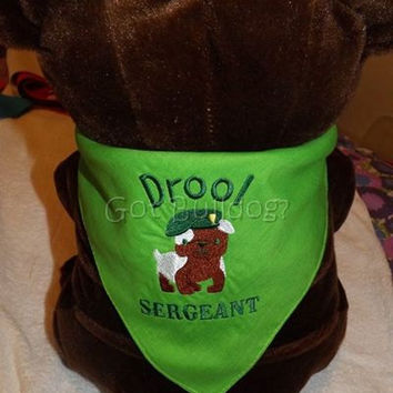 Drool Sergeant Embroidered Dog Tie On Bandana