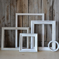 Shabby Chic White Wooden Distressed Frames - Set of 5