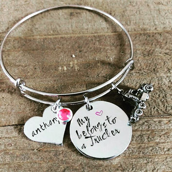 My Heart Belongs To A Trucker - Trucker Wife - Trucker Charm Bracelet