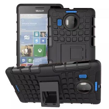 For Nokia Microsoft Lumia 950XL CityMan RM-1118 PC+Silicone Gel Double Combo Rugged Hard Case For Lumia 950 XL Tire Stand Cover