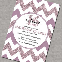 Sweet 16 Invitations, Teen Birthday Invitations, Purple Sparkly Chevron Birthday Invite, Quinceañera(2003)