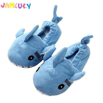 Boys Slippers Girls Shoes Winter Suede Cute Dolphin Floor Slippers Bedroom Indoor Cotton TPR Sole Shoes Kids Slippers Shoes