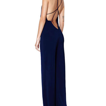 Deep V-Neck Strappy Backless Jumpsuits