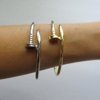 Gold Or Silver Nail Cuff Bangle Bracelet
