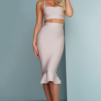Two Piece Bandage Midi Dress