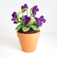 Mini Crochet Wild Violet in terra cotta pot - Mother's Day, New Jersey State Flower, February Birth Flower