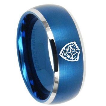 10mm Zelda Hylian Shield Dome Brushed Blue 2 Tone Tungsten Mens Anniversary Ring